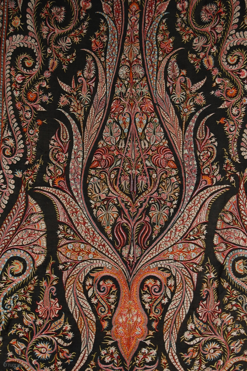 Beautiful Old Indian Hand Embroidered Indian Paisley Shawl