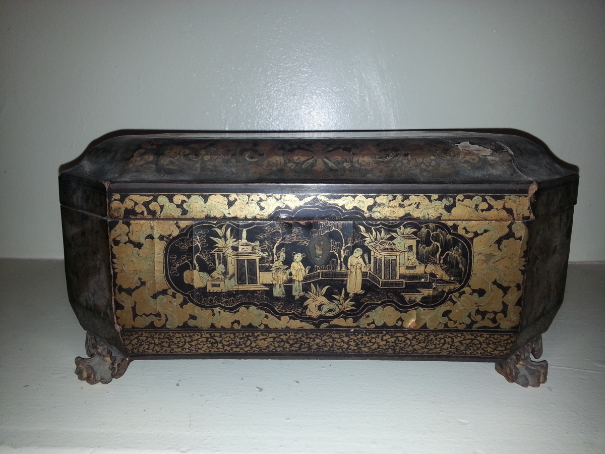 Chinese Chinoiserie Sewing Box With Key Antique From Mid