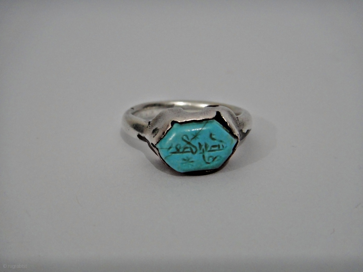 A Seljuk Turquoise Set Silver Ring Persia 12th 13th