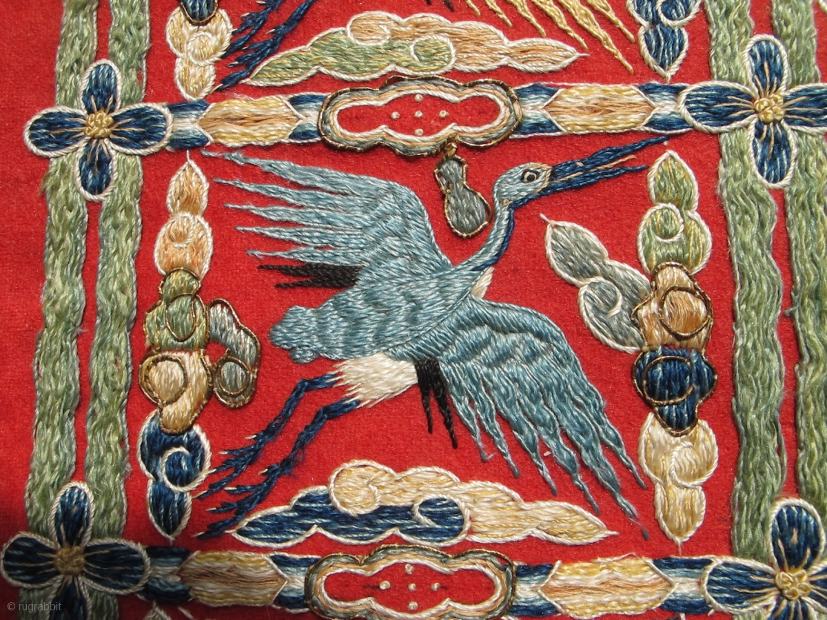 Chinese Or Tibetan Stork Crane Tapestry Embroidery 25 X 10