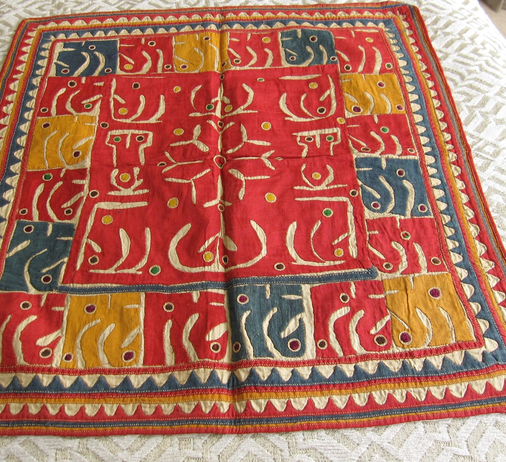 Antique folk art embroidered textiles from Gujarat, India  About 75