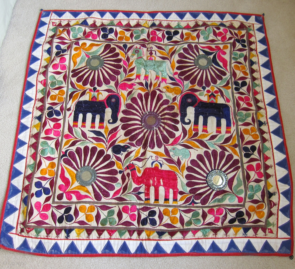 Antique Folk Art Embroidered Textiles From Gujarat, India
