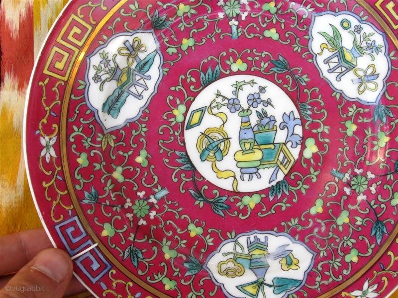 An Antique 19th Century Russian GARDNER porcelain Pair Plates Oriental Chinese design. Gardner Porcelain & An Antique 19th Century Russian GARDNER porcelain Pair Plates ...