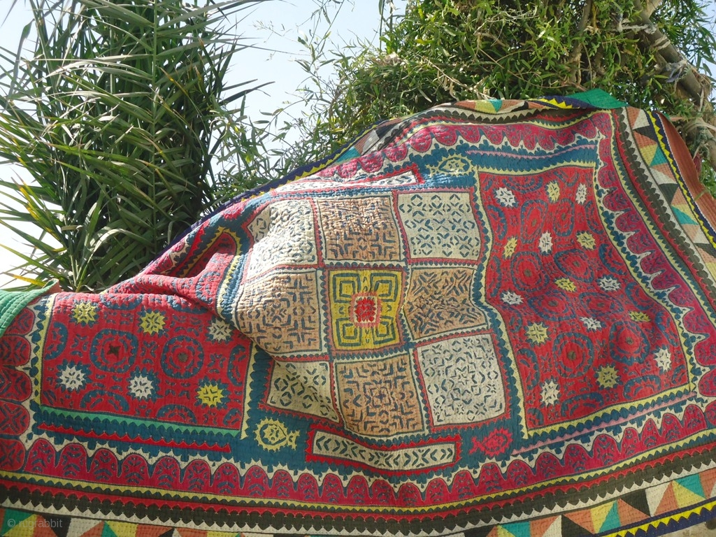 A Vintage Applique And Patchwork Ralli Quilt Of Mid 20th