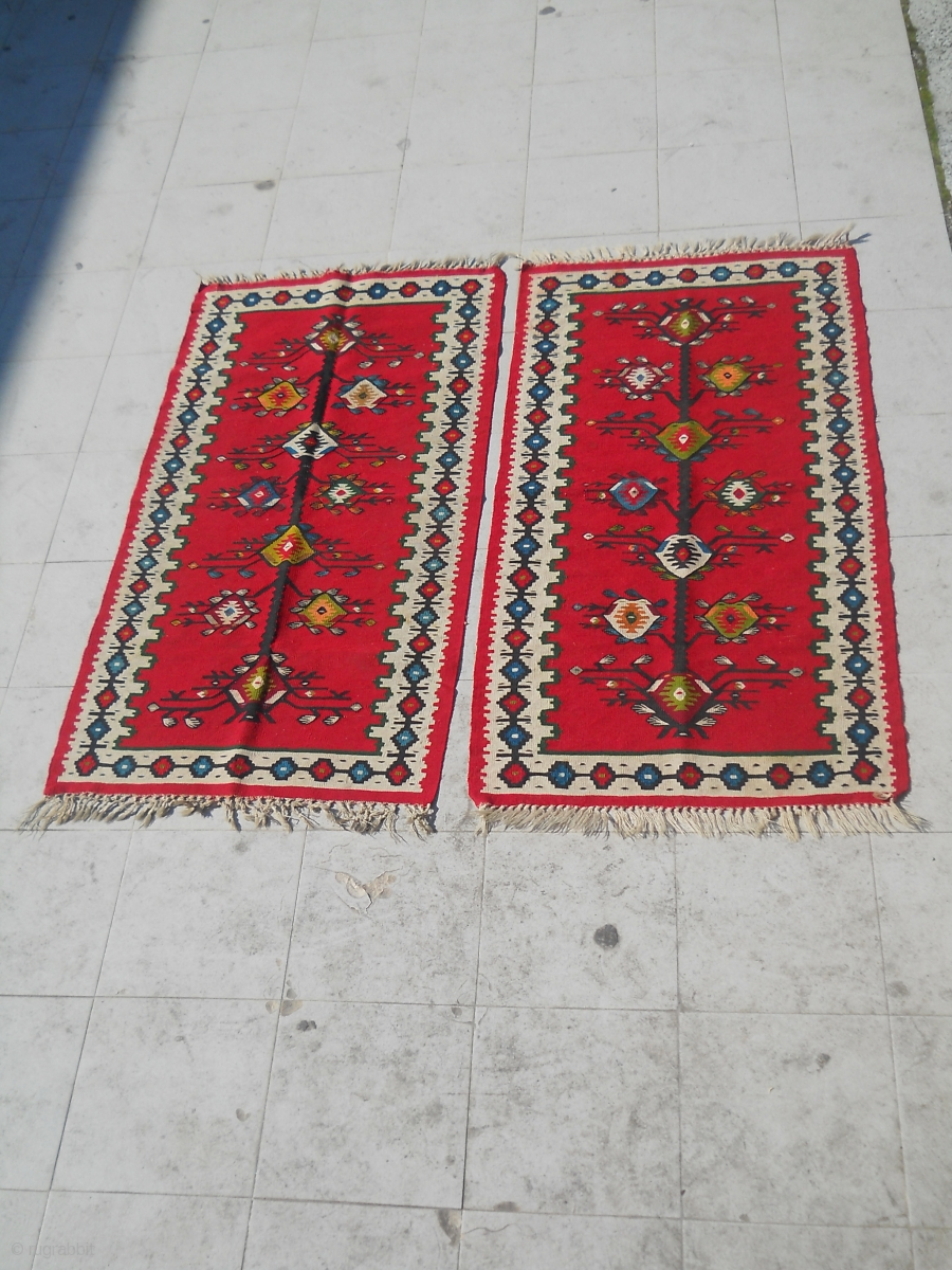 Two Small Sarkoy Pirot Kilims Patterned Đuls On The