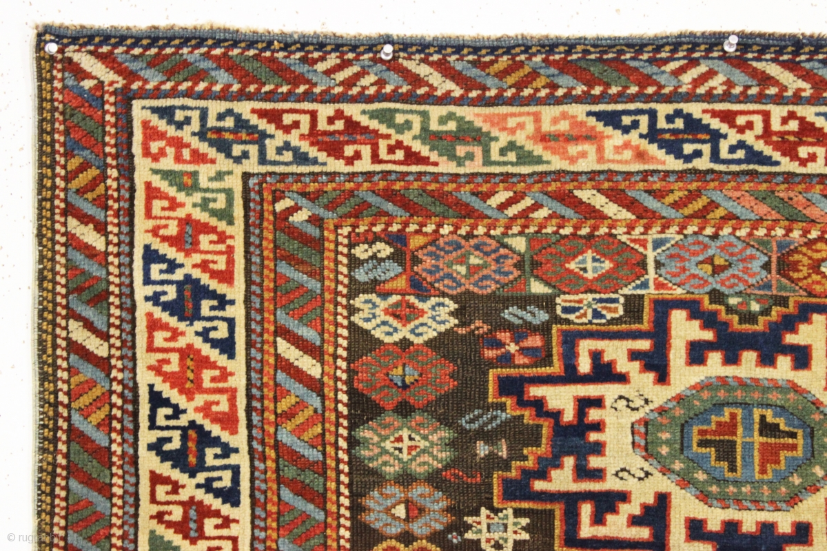 Antique Little Caucasian Rug With Interesting And Quirky