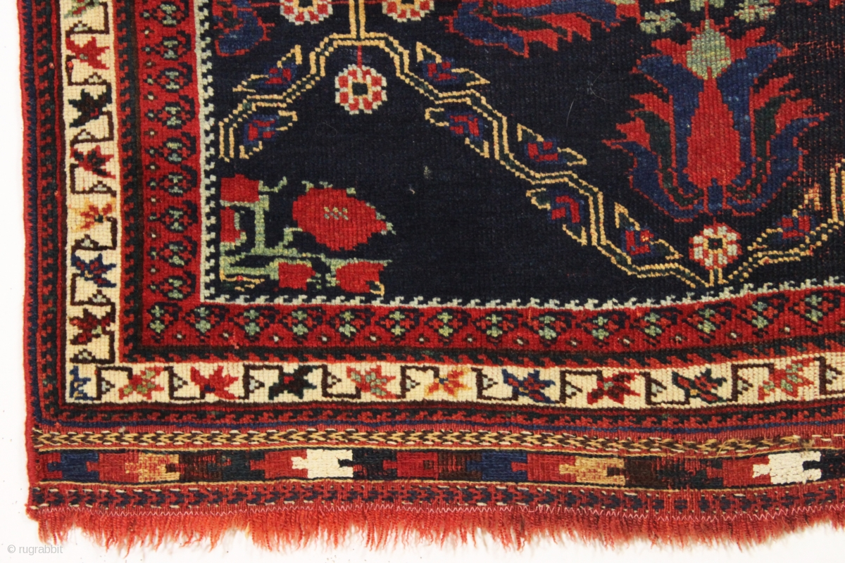 Antique Small Afshar Rug With Attractive Tulip Design