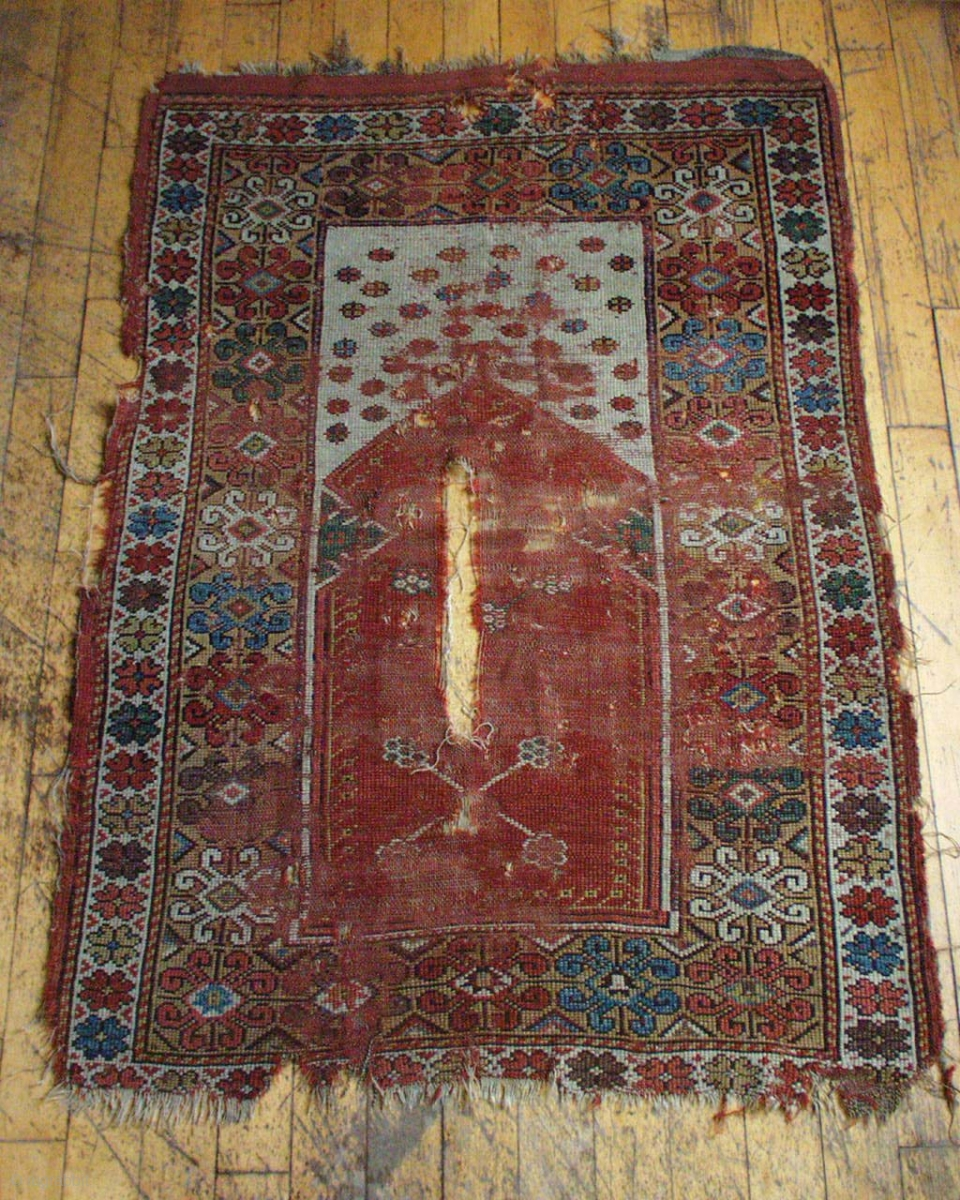 Antique Turkish Melas Prayer Rug. Early Example In Rough