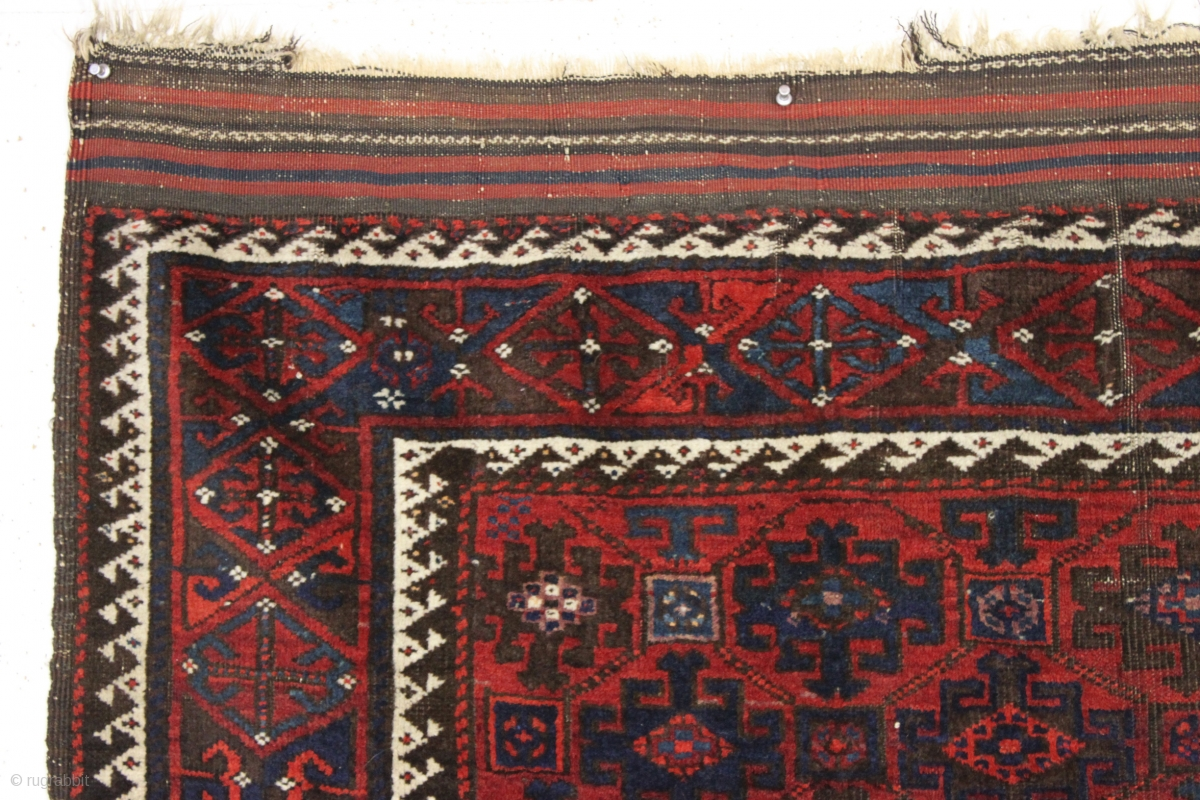 Antique Baluch Rug In Excellent Condition. Classic Baluch Lattice Design.  Thick Glossy Wool And