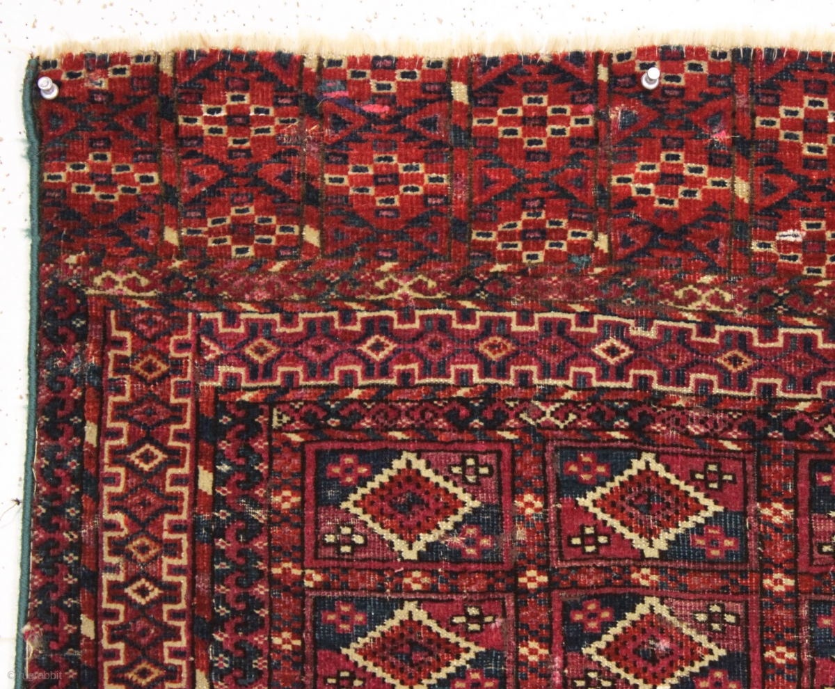 Antique Little Tekke Rug With Interesting Aina Gul Field