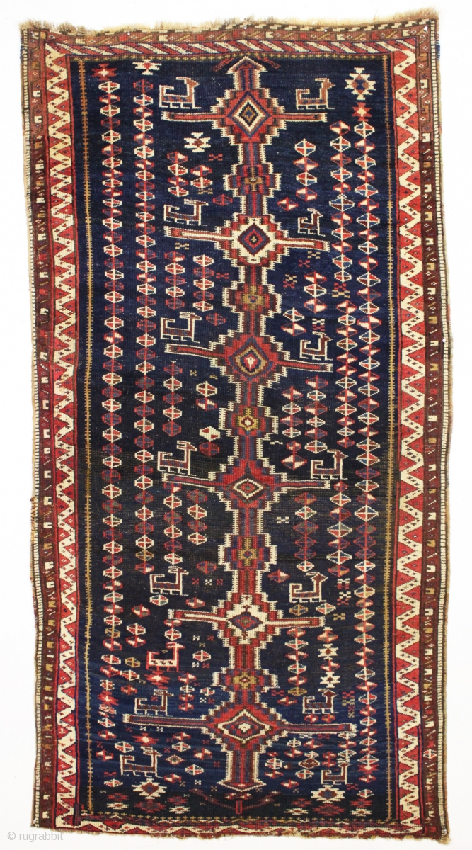 Antique Persian Tribal Rug Probably Luri With An Unusual Flat Weave Inspired Design