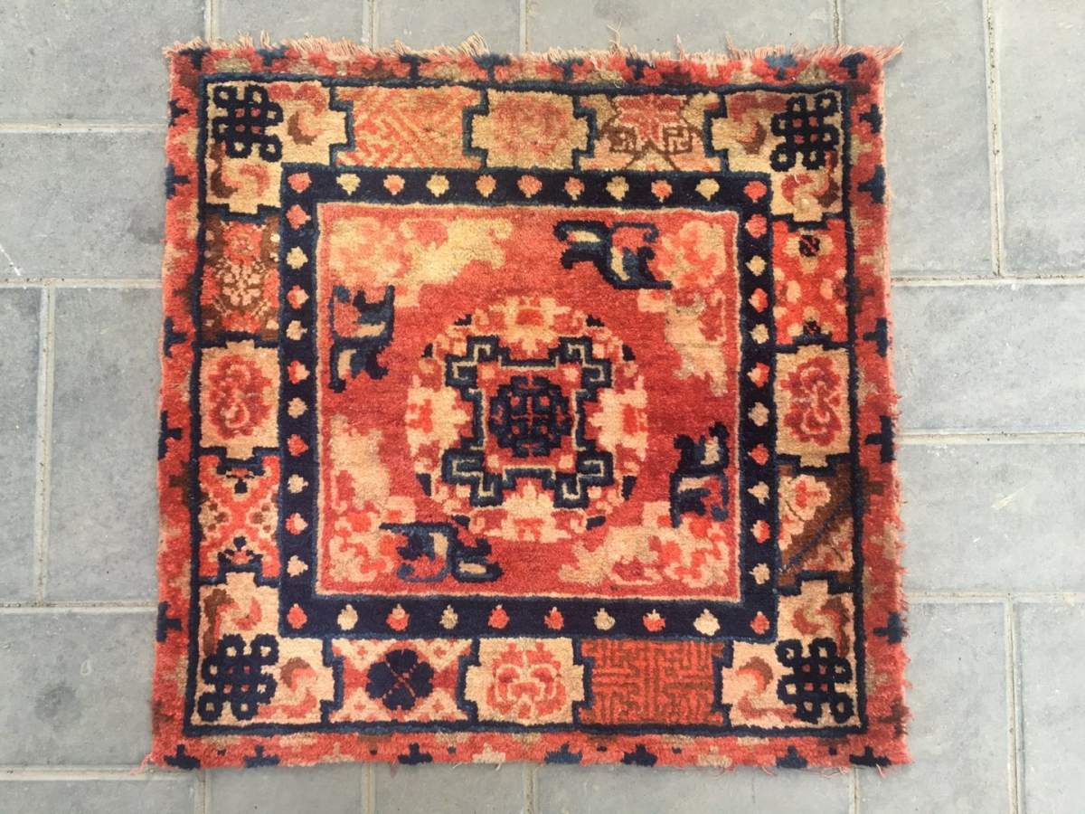 2045 Baotou Rug Lama Sitting Mat Red Background With Single Group Flower Veins
