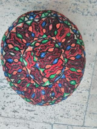 Turkmen hat 20th century silk embroidery