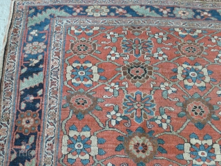 """Mina Khani Design Bidjar kellei, 19th century, 3.56m x 1.70m, 11'9"""" x 5'6"""". Very good colour, especially the terracotta background, yellows, light blues and abrashed green. Crisply drawn and well-spaced design. Woollen  ..."""