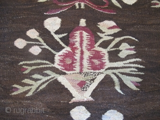 Very decorative Ukrainian Kilim, circa 1880, 2.90m x 2.60m. Available.