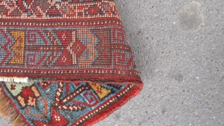 Very cute 19th century Khamseh weaving. 48cm x 46cm Beautiful colours and great wool. Is it a bagface or a wagireh? SOLD.