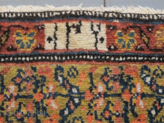 Kurdish Long Rug, 4.00m x 1.51m, dated circa 1910 (1230). Stunning saffron yellow field. Excellent condition.