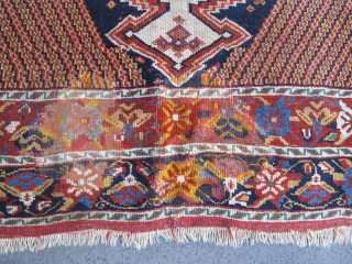 Here is a really beautiful 19th century Afshar rug, 1.67m x 1.31m (5' 5 inches x 4' 3 inches), several old repairs and other damage. Areas of good pile and ends intact.  ...