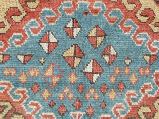 """Rare Borjalou Kazak rug, 196cm x 135cm (6'5"""" x 4'4"""", circa 1875. An exceptional example. Typical use of repeating hooked lozenges, but filled with very unusual scattered kites! Lovely palette with a  ..."""
