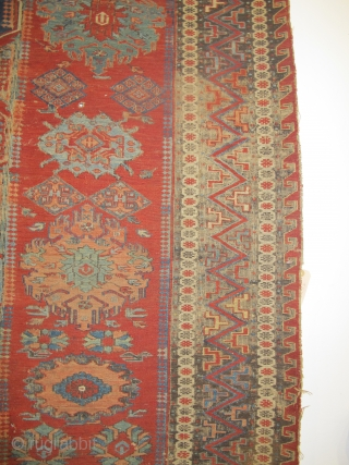 "19th century Soumac Carpet with 4 medallions, East Caucasus, 2.86m x 2.28m (9'3"" x 7'6""). Really good colours. Corrosion to the browns, otherwise in generally good condition. Needs cleaning and some attention  ..."
