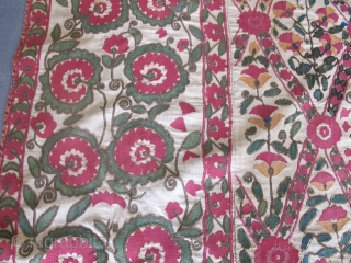 """An Uratube Suzani, circa 1850, 2.32m x 1.84m (7'8"""" x 6'), wonderful colours. Beautiful lattice design. Very good condition. Please contact me for further details."""