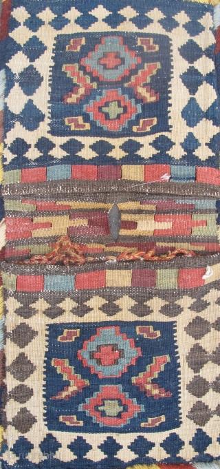 """19th century Shahsavan Kilim Technique Bags 54cm x 26cm (1'10"""" x 11""""), All good dyes, complete."""