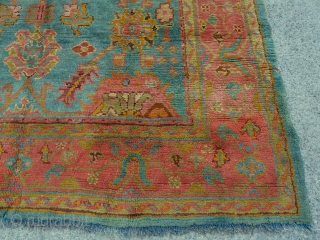 """Oushak carpet, western Anatolia, circa 1890, 3.43m x 2.18m (11'3"""" x 7'2""""). A lovely carpet with good colour, well spaced design and good fleecy wool. In excellent condition. Clean and ready for  ..."""