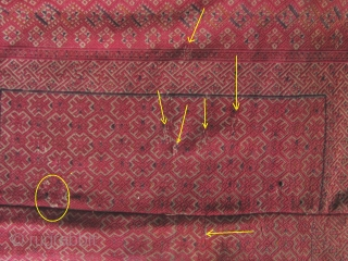 """Beautiful old Zhuang minority textile from Guangxi Zhuang/Guizhou province, China. Woven in two panels with silk embroidered """"diamond and star"""" patterned border, """"wanzi"""" swastika key fret and well symbols. There are small  ..."""