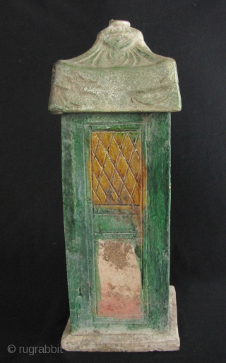Ming Sancai Sedan Chair:  Ming Dynasty ceramic wedding booth. Traditionally in China a woman was carried in a covered wedding sedan chair by bearers accompanied by musicians. This piece has a detachable  ...