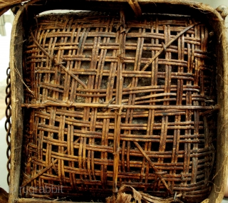 Bidayuh Basket : rrare late 19th/early 20th CE storage basket from the Bidayuh people of Sarawak. The lid is made from the skin of a sambar deer while the basket plaiting is  ...