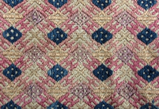 Chinese Minority Textile: Excellent, circa 1950s, 3 paneled weaving from the Zhuang ethnic group in Guangxi Zhuang, Southern China. The body is woven from very fine handmade cotton thread while the weft  ...