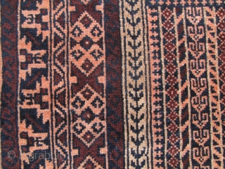 "Lovely Afghan Baluch ""Five Mirahb"" design prayer rug from Tchichaktu. This was made circa 1970/1980. Aside from some missing fringe this carpet is in excellent condition. l: 150cm/56in w: 90cm/35.5in."