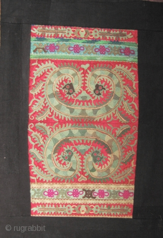 ​​​​​Miao Taigong Embroidered Panels: Fabulous pair of green dragon motif sleeve panels from the Taigong Miao community Guizhou, China. These were acquired in Beijing about 15 years ago and are mounted on  ...