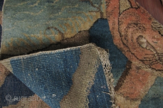 Tiger Rug, Baotou, Nei Mongol, China. Circa late 19th/early 20th century. 160cm x 90cm. Nice abrash. Some small old repairs. please see last enlargements for close up of repairs. The selvedge on  ...