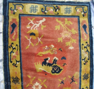 "SPecial Offer: Good circa late 19th/early 20th CE, Ningxia Tibetan Buddhist temple runner with two playful female ""foo dogs"" and pup, medallions, representing the nurturing aspect of the Yin principle, against an  ..."
