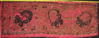Miao Jacket Panels: Collection of seven Chinese Miao embroidered panels with phoenix; dragon and floral motifs~ see enlargements for dimension. These are vintage/antique pieces early 20th to mid 20th CE. Condition as  ...