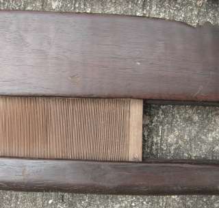 Three vintage heavy hardwood (possibly teak) Khmer loom heddles. These would make ideal textile hangers. I bought them about 20 year ago in the Russian Market, Phnom Penh. Some repair on the  ...