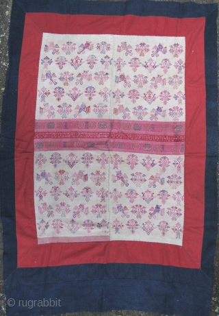 Maonan Blanket: Fine old all and spun and hand woven wedding blanket from the tiny Maonan minority group living in Guangxi and Guizhou province, circa 1940 to 1960. This piece is very  ...