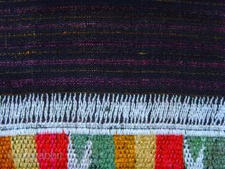 188 Silk embroidery on hand woven silk fabric.  Thai lu Thai lu people Vietnam. Early 20 century. 140 x 61 CM