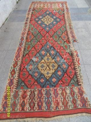 Antique Anatolian Aksaray Elibelinde Kilim size:420x155 cm.