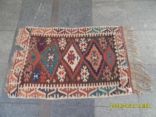 Antique Anatolian Konya Obruk Kilim size: 125x80 cm.