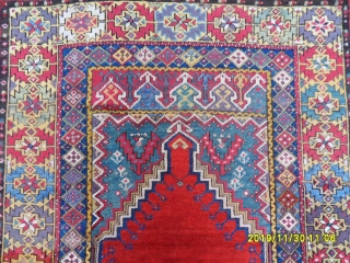 Antique Anatolian Mucur Prayer Rug size:165x125 cm.