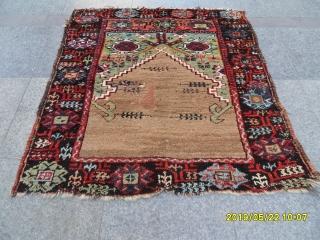Antique Anatolian Karapinar Prayer Rug size. 112x100 cm.