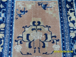 Lovely and unique beige and navy Chinese carpet Origin - China; size: 130x67.cm