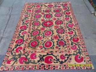 Antique Old Türkmen Silk And Cotton Textile Suzani size: 212x153 cm.