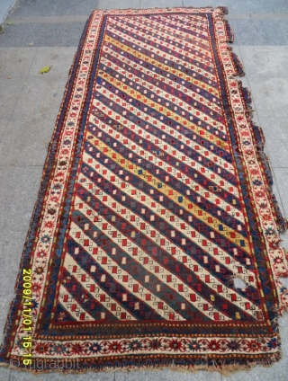 Antıque Caucasıan stripe Kazak Runner All Natural Colors 