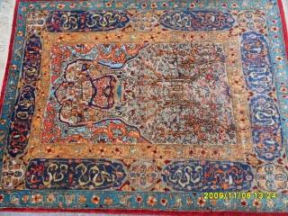 Antique Original Anatolian Hereke Silk Prayer Carpet With Silvers Metals size:142x110 cm.