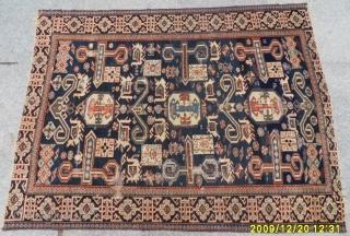 Antıque Caucasian Shirvan Perepedil Rug size: 120x90 cm.