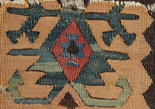 "Beautiful Anatolian Kilim ""Goddess"" fragment. Konya area, before 1800. 60x75 cm. mounted on dark brown cotton canvas. Very graphic and decorative piece!"