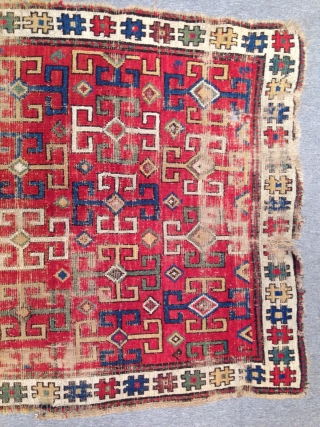 Charming small Shahsavan pile rug, worn but still attractive and with a rare design. Very good colors. 98x167 cm.
